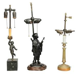Three Bronze Table Lamps