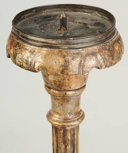 Gilt and Silvered Wood Pricket Candlestick