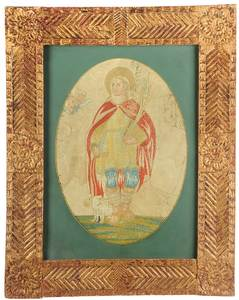 Framed Continental Religious Embroidery