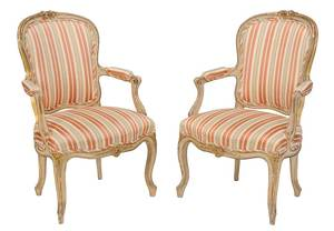 Pair Louis XV Style Parcel-Gilt Armchairs