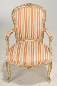 Pair Louis XV Style Parcel-Gilt Armchairs