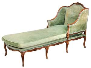 Louis XV Carved Walnut Upholstered Chaise