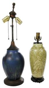 Two Rookwood Pottery Vases Converted to Lamps