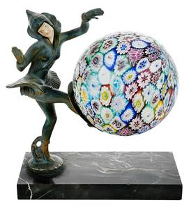 French Art Deco Lamp With Millefiore Globe