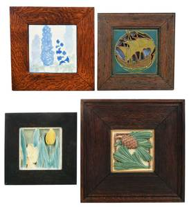 Four Arts and Crafts Tiles/Rookwood & Marblehead