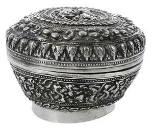 Round Indonesian Silver Box
