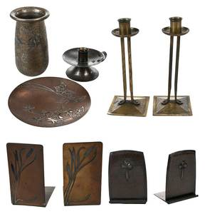 Nine Arts & Crafts Metal Table Objects