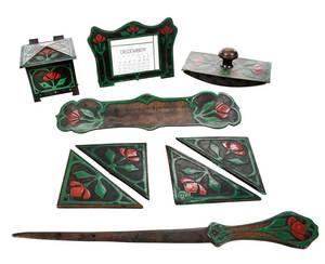 Eight Piece Copper Arts & Crafts Desk Set