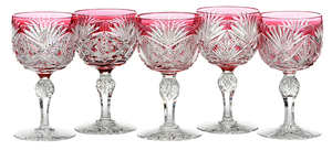 Five Dorflinger Brilliant Period Cut Glass Stems