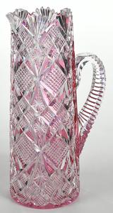Straus Brilliant Period Cut Glass Pitcher/Stems