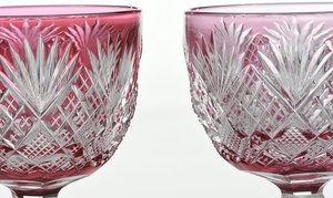 Pair Dorflinger Brilliant Period Cut Glass Stems