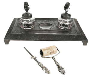 Cast Iron Desk Set With Glass Inkwells