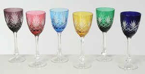 Six Faberge Wine Glasses in Case