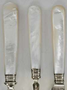 English Silver, Mother of Pearl Fish Set