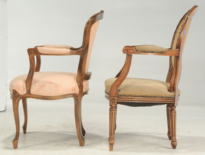 Four Louis XV and XVI Style Fauteuils