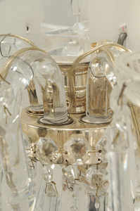 Pair Louis XV Style Crystal Wall Sconces
