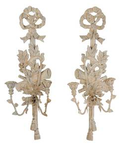 Louis XVI Style Bow and Tassel Sconces