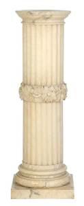 White Alabaster Carved Pedestal