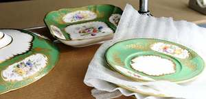 13 Pieces Green Floral Decorated Porcelain