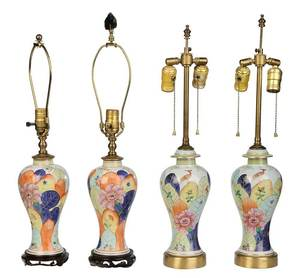 Four Chinese Export Tobacco Leaf Pattern Lamps
