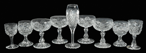 Nine Brilliant Period Cut Glass Stems