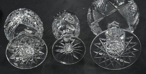 Nine Brilliant Period Cut Glass Stems
