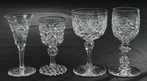 Eight Brilliant Period Cut Glass Stems