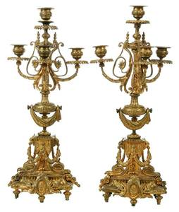 Pair of Louis XIV Style Gilt Bronze Candelabra
