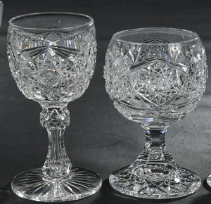Eleven Brilliant Period Cut Glass Stems