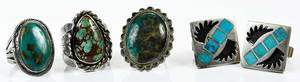 Three Southwestern Rings & Pair Cuff links