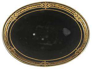 Black Lacquer Oval Serving Tray