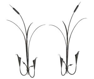 Two Lily Form Iron Wall Sconces