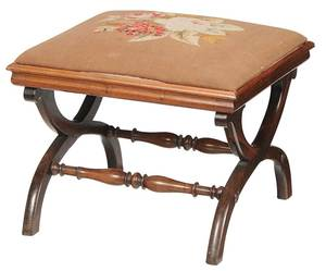 Classical Rosewood and Needlepoint Stool