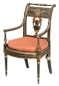 Italian Neoclassical Painted Arm Chair