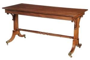 Regency Style Figured Mahogany Library Table