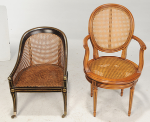 Victorian Faux Painted and Caned Gondola Chair