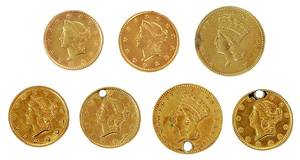 Seven United States $1 Gold Coins
