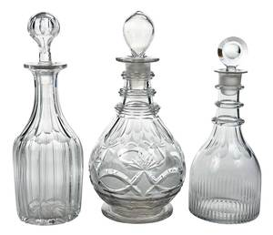 Three 18th/19th Century Cut Glass Decanters