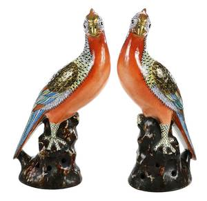 Pair Chinese Export Porcelain Pheasants