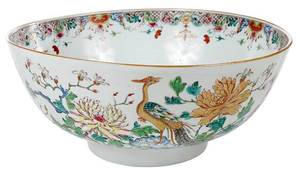 Gilt Famille Rose Punch Bowl