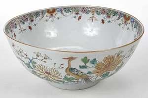 Gilt Famille Rose Punch Bowl