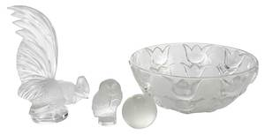 Four Pieces Lalique and Tiffany Glass