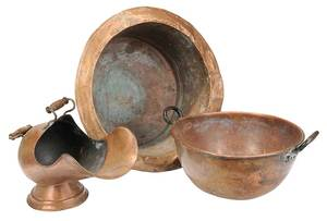 Three Vintage Copper Vessels