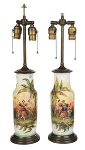 Pair of Chinoiserie Decorated Porcelain Lamps