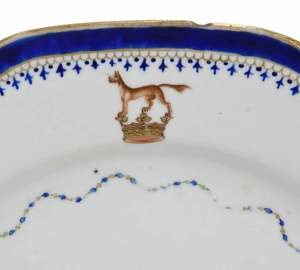 Eight Chinese Export Armorial Plates
