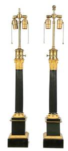 Pair Black and Gilt Corinthian Column Form Lamps