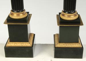 Pair Black and Gilt Corinthian Column Form Lamps