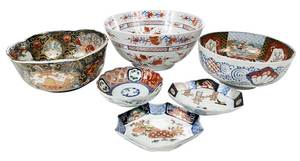 Six Asian Porcelain Gilt Bowls