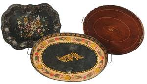 Three Paint Decorated and Inlaid Serving Trays