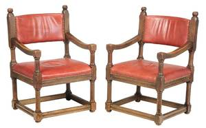 Pair Red Leather Upholstered Open Armchairs